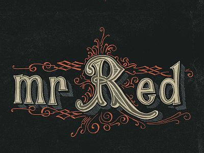 Mr Red cult handmade lettering urban tee-shirt ginger vintage victorian colour logo typography branding