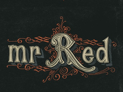 Mr Red cult handmade lettering urban tee-shirt ginger vintage victorian colour logo typography branding