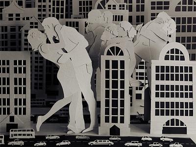 Collide love valentines paper sculpture kiss craft the beatles romance city urban big