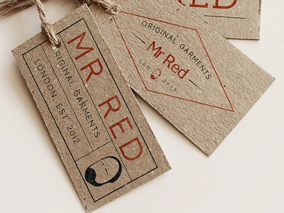 Mr Red Tags branding typography logo colour victorian vintage ginger tee-shirt urban lettering handmade cult