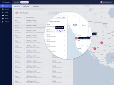 Hologram Inflight: Quick Actions web app web enterprise ui map quick action tooltip dashboard ui dashboad table