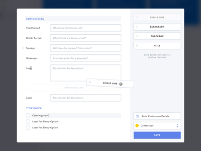 Customize Form Template drag drag and drop web app form mnml minimal clean ui sketch