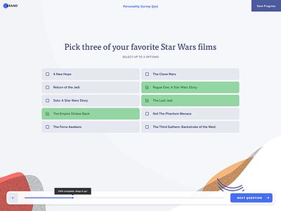 Multiple Choice Survey Question selection questionnaire form design form flow question quiz illustration typography design sketch minimal mnml web ui app