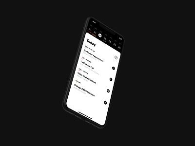 B&W Calendar UI black  white black white typography todo calendar iphone interface design sketch ios app ui