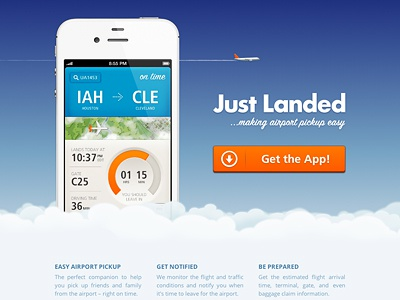 Introducing Just Landed just landed iphone ios web design css3 html5 website airplane airline clouds landing page sky