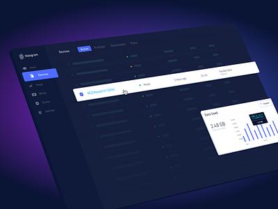 Hologram Dashboard v4 data nav status lighting dramatic purple sketch preview dashboard dark illustration web design ui