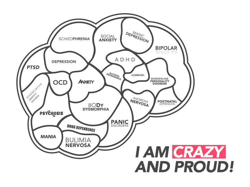 Crazy and Proud! icon branding design mental health