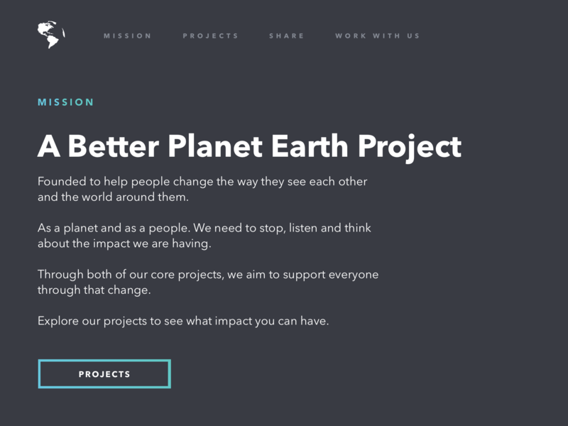 A Better Planet Earth Project. environment planet angle simple project homepage