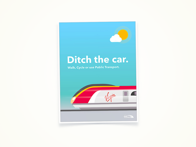 Ditch The Car poster art pixelmator train vector web poster design illustration virgin sustainability step4 earth day branding environment