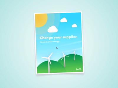 Change your Supplier pixelmator vector poster art energy solar wind poster web design illustration bulb sustainability step6 earth day environment branding