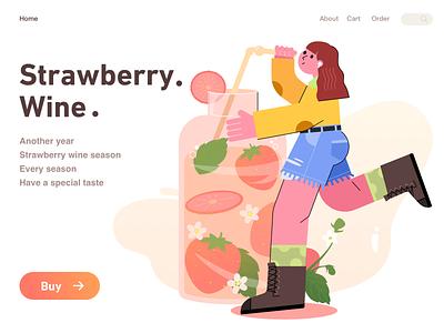 strawberry wine typography ux girl artwork procreate vector branding ui web illustration
