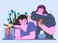 Fun for girls teamwork connection woman procreate people artwork girl design illustration