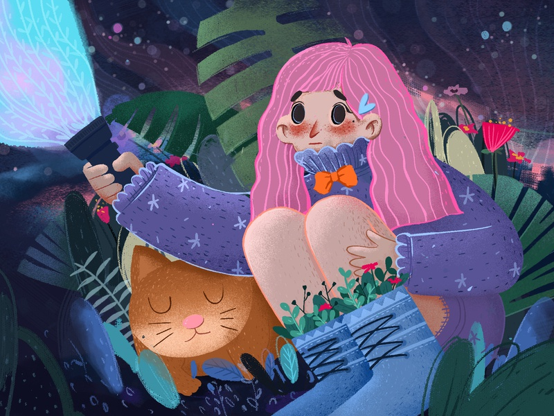 The Night Sky Girl design ui web illustration 插图 设计