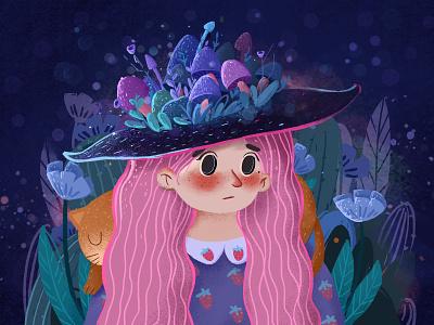 The Night Sky Girl2 design illustration 设计 插图