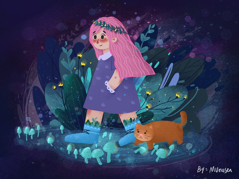 The Night Sky Girl3 animation design illustration 设计 插图