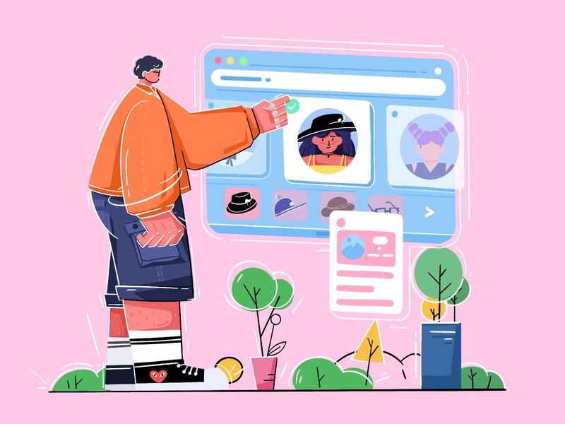 Send you a girlfriend artwork design boyfriend girl profession people boy office illustration