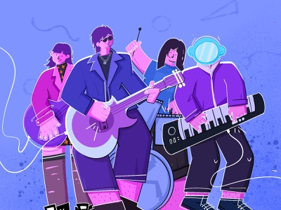 New pants band guitar cool people purple summer editorial couch music band character ui illustration