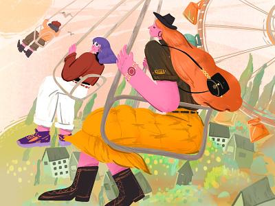 happy park ui 插图 people girl colour web swing flat woman ipad procreate illustration