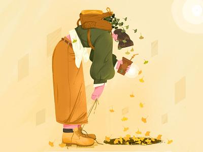 Fall artwork procreate people girl 设计 ui design 插图 illustration