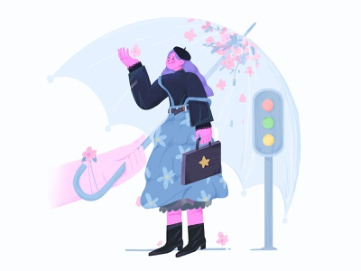 your company procreate people girl design 插图 illustration