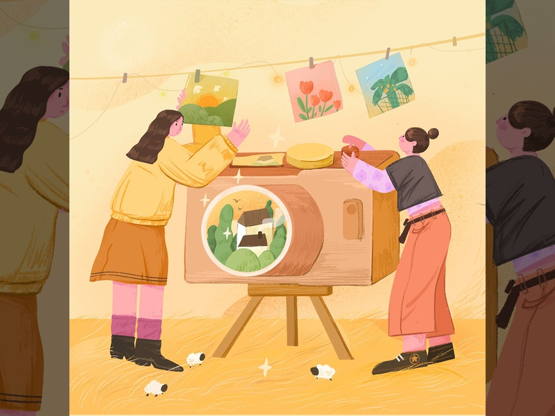 Record Life people girl 插图 illustration