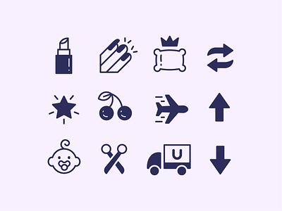 """Gal Pals"" Icon Set adobe illustrator illustrator drawing illustration logo graphic design vector design icon design icon icon set iconography"