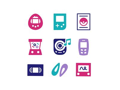 90's Kids Icon Set illustrator adobe illustrator graphic design design vector drawing illustration icon design icon set iconography