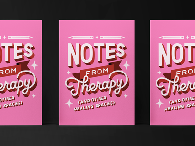 Notes from Therapy red pink illustration hand lettering lettering mental health therapy