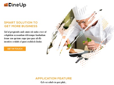 DineUp Mobile Application and Business Landing Page ui ux illustration typography landing page design food app landing page food app mobile app homepage website landing page adobe photoshop design branding
