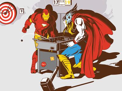 Iron Man & Thor are playing kicker