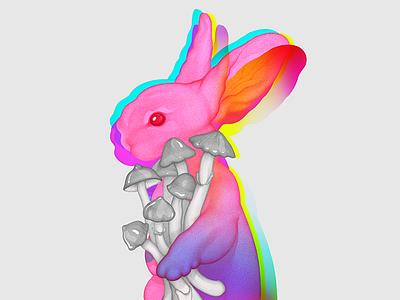 Psilocybin Rabbit bunny multiply realistic mushroom insane mad art pencil character illustration rabbit psilocybin