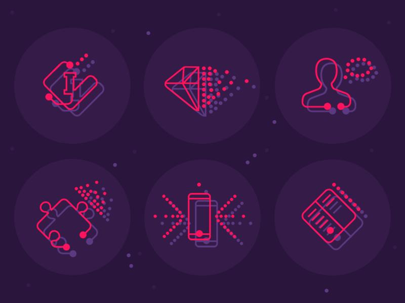 Tech icons set stroke symbol iconography glyph technology set ui web illustration vector icons icon