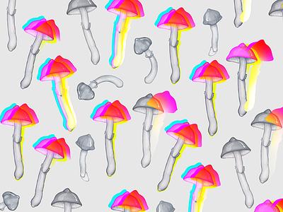 Mushrooms pattern mushrooms psilocybin amanita mushroom mad insane multiply food realistic pencil illustration