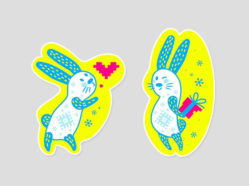Velcom Stickers for Telegram character flat mascot icon present heart kiss rabbit bunny messenger sticker telegram