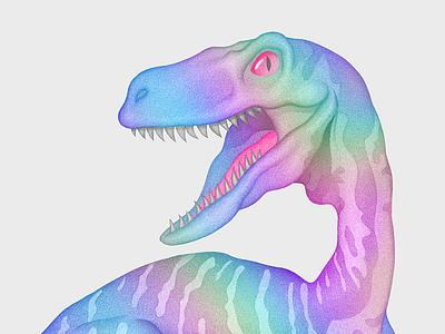 Iridescent Dino tumblr mascot neon realistic iridescent art pencil character illustration velociraptor t-rex dinosaur