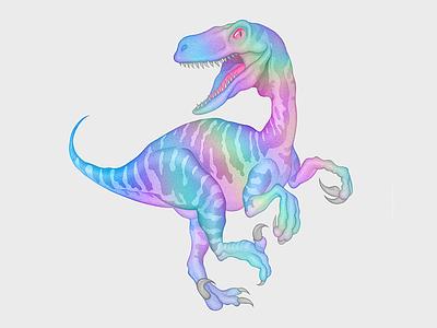 Tumblr Velociraptor velociraptor tumblr t-rex realistic pencil neon mascot iridescent holographic illustration dinosaur character