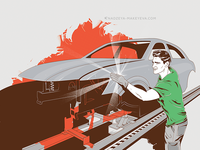 Paintshop hardware character design flat icon dc marvel superhero car volkswagen comics comic character illustration