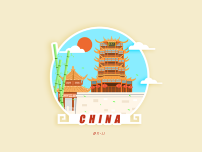 Yellow Crane Tower, a famous building in China design illustration 设计 插图