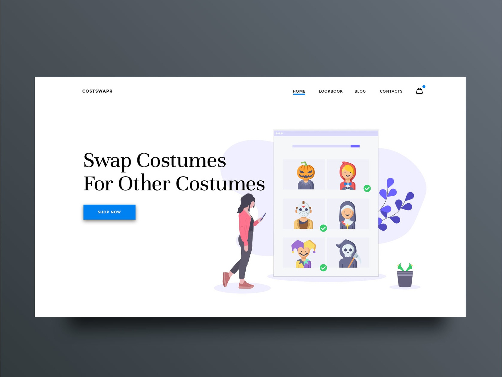 Costume Swap Landing Page illustrator type clean minimal web app icon vector branding website typography illustration halloween web design design ux ui