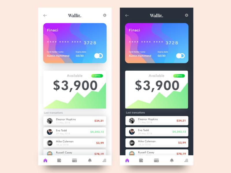 Wallit App Design Jam web website wallet finance sketch ux ui photoshop design jam vector typography type minimal illustrator illustration design clean branding app