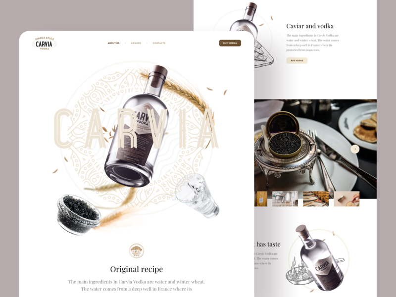 Carvia – Landing page spice drinking france handmade bottle carvia caviar vodka craft artisanal alcohol