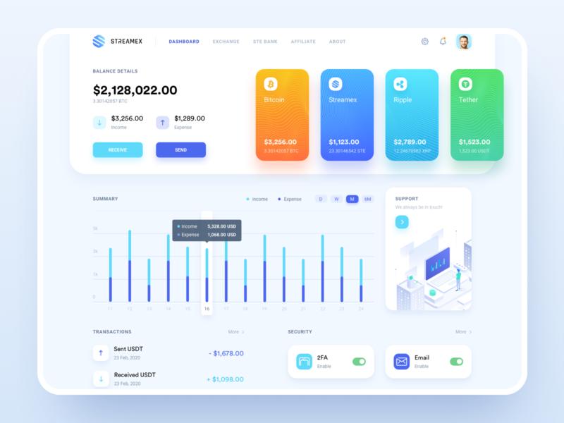 Streamex – Dashboard overview dashboard cryptocurrency btc platform market trading coins blockchain exchange crypto bitcoin banking bank
