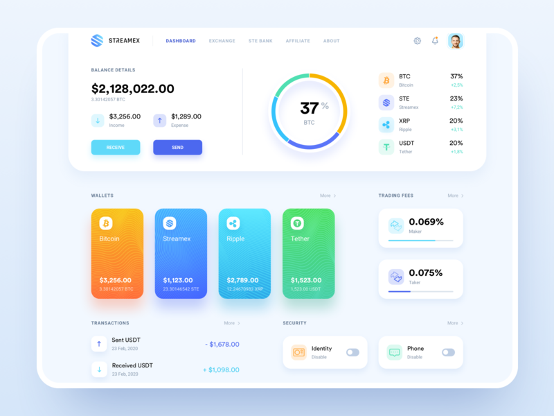 Streamex – Wallets overview cryptocurrency dashboard exchange market trading platform wallet crypto coins blockchain btc bitcoin banking bank