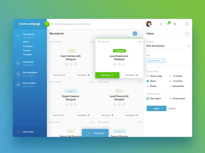 Dashboard for HR service hr work dashboard freelance job soft gradient minimal clean ux ui