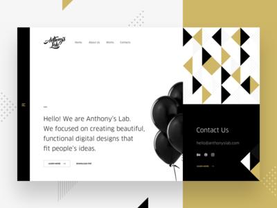 Anthony's Lab studio minimal simple triangle lab anthony baloon black gold pattern agency portfolio