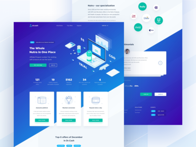 DrCash Main Page advertisement click network affiliate traffic cpa hero product page health beauty isometric ico landing gradient nutra