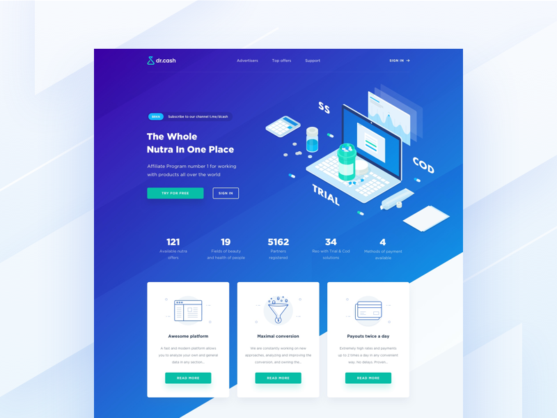 DrCash Hero Block hero product page nutra landing isometric ico gradient health beauty