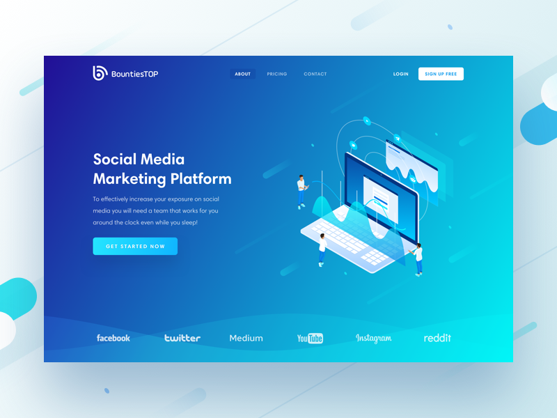 BountiesTop Hero Block social media product platform marketing isometric followers analytics