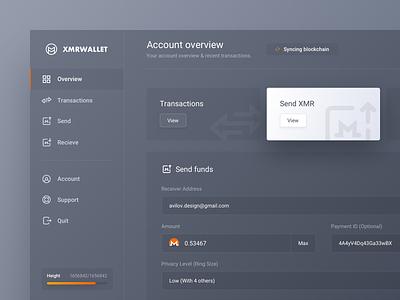 XMR Wallet Send Funds blockchain overview send money ico platform btc xmr monero dashboard crypto wallet bitcoin