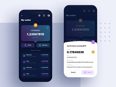 AlterApp – MyWallet transactions popup funds receive send market bircoin crypto wallet btc